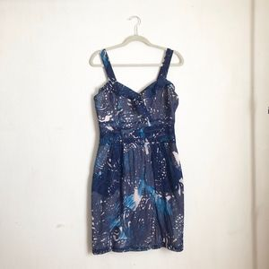 Peruvian Connection blue dress sz:8 fitted summer